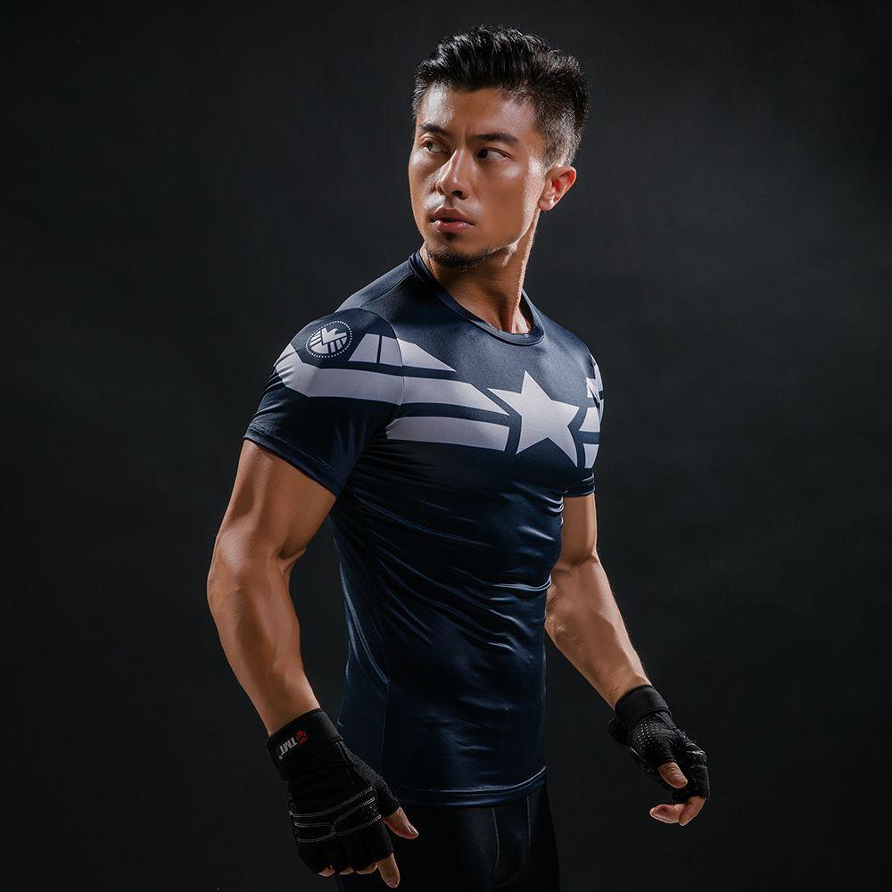 Nova Compressão Camisa de Super heróis Em Quadrinhos Capitão América homem  De Ferro Ajuste Apertado G ym Musculação Camiseta em Camisetas de Dos  homens de ... a15b44e140843