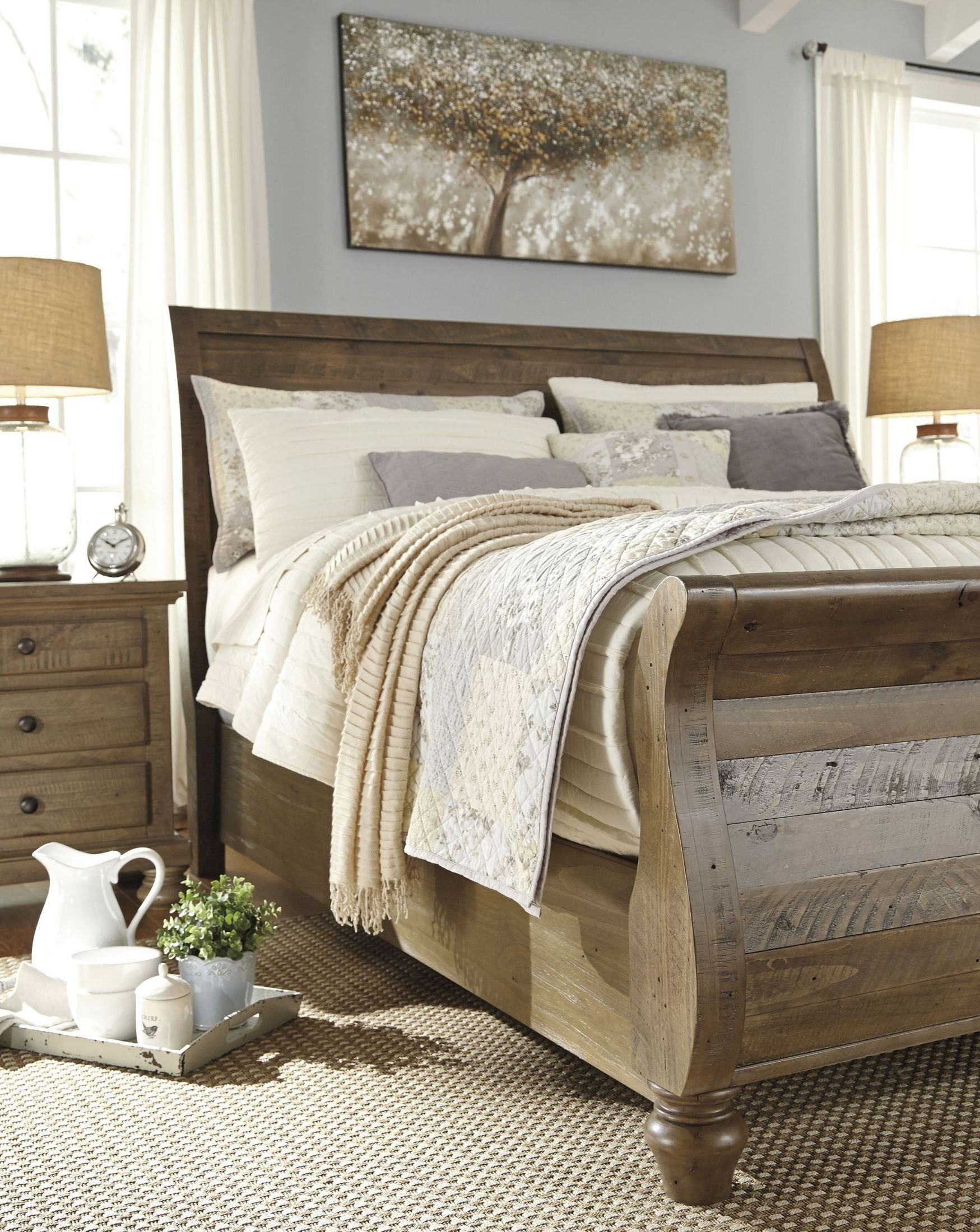 Best Trishley Light Brown King Sleigh Bed Bedroom In 2019 400 x 300