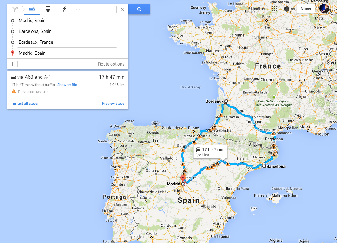 IDEA: Madrid to Barcelona to Toulouse to Bordeaux, then along the ...