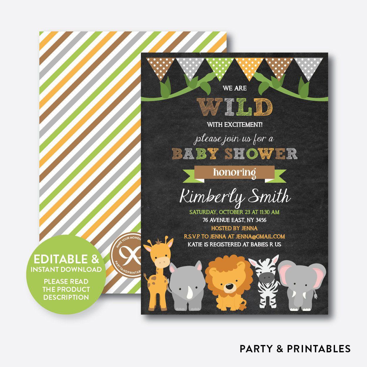 Instant Download Editable Safari Baby Shower Invitation | Baby ...