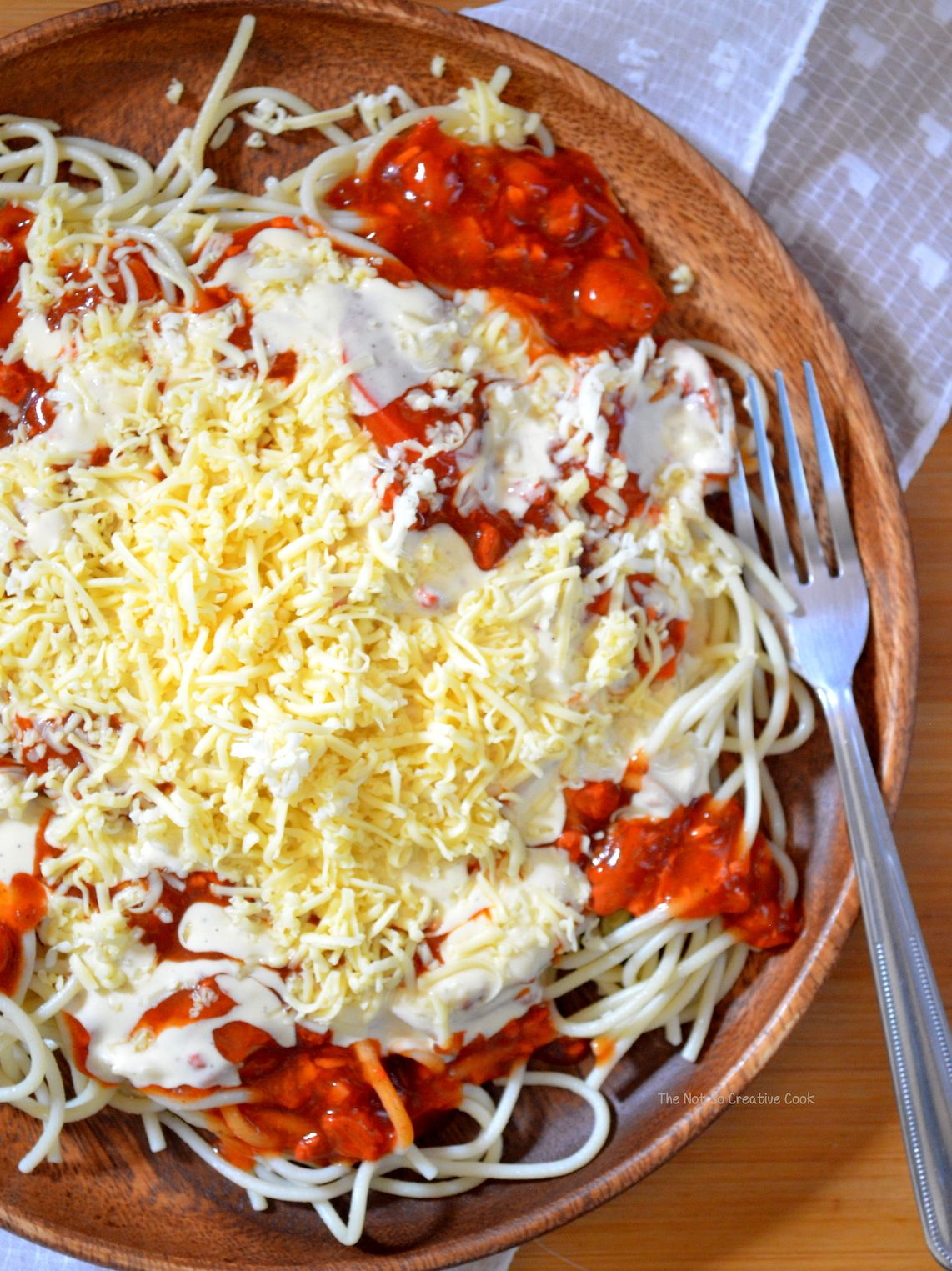 Filipino Spaghetti With Creamy White Sauce The Not So Creative Cook Recipe Cooking Healthy Baking Substitutes Baking Substitutes