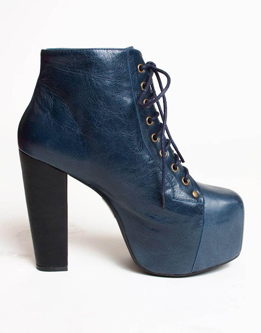 Boots, Jeffrey campbell lita, Navy leather