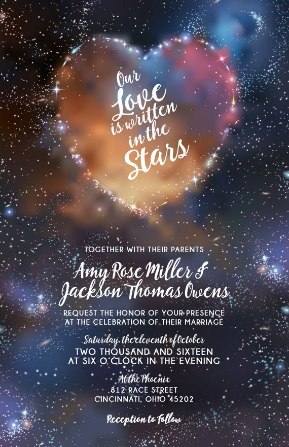 Galaxy wedding invitations stars and space invite set for Space themed stationery