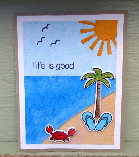 Beach Theme Card Stock: Encouragement Card, Beach Scene, Birthday Card, Thinking