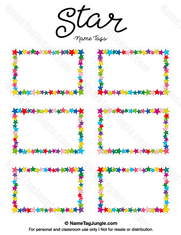 Free printable star name tags the template can also be for Design table name cards