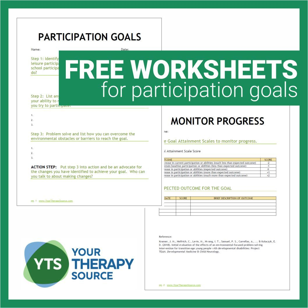 Participation Goals And Worksheets For Young People With