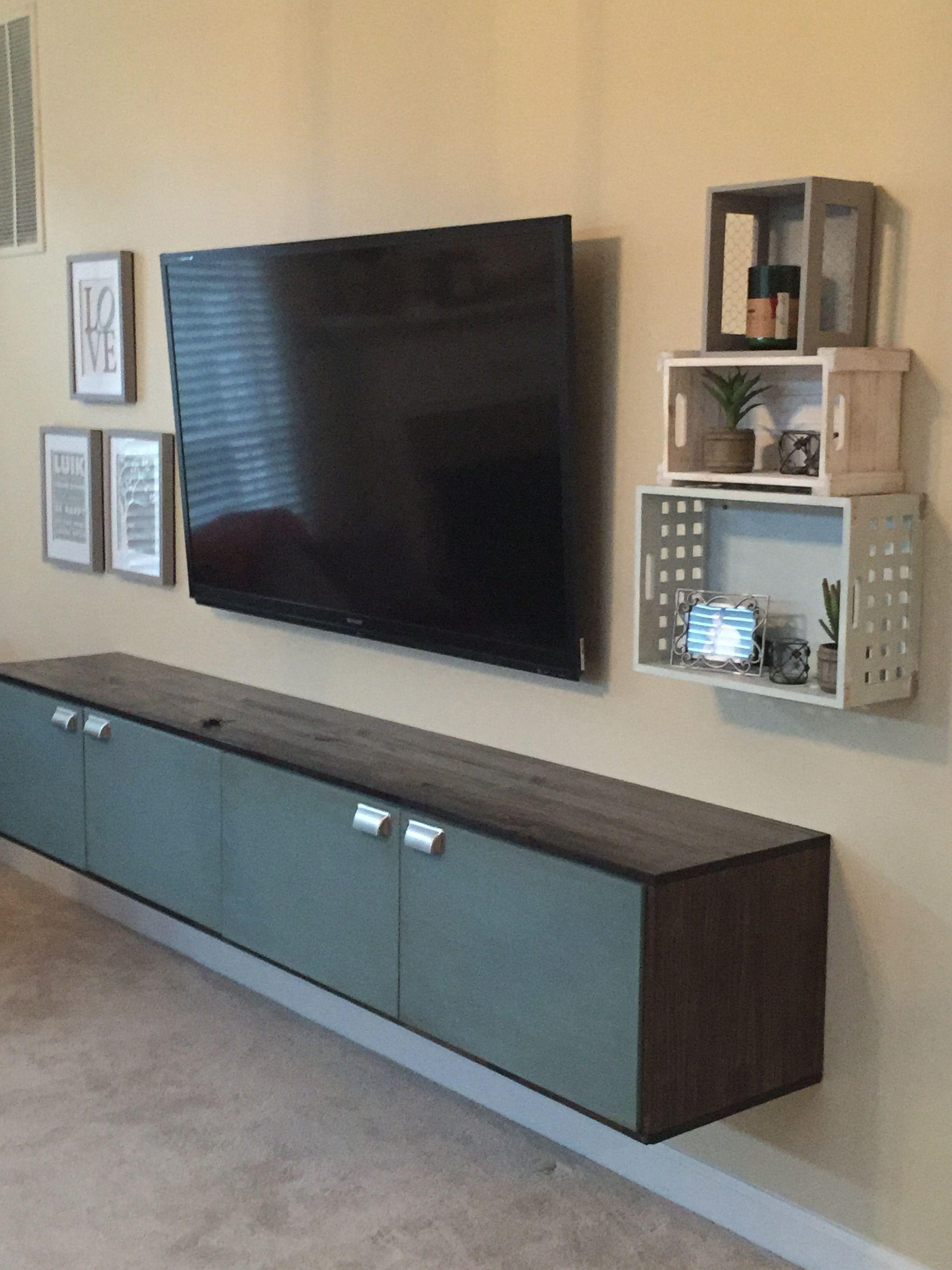 ikea besta hack. tv console diy. 2 x 47.5 inch tv cabinets. doors