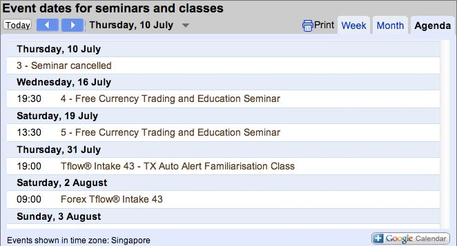 Forex seminar dates July-August 2014 #singapore