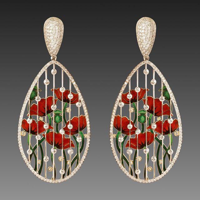 #ilgiz_f #earrings #poppies #rain #diamonds #gold #enamel #hotenamel #exclusive