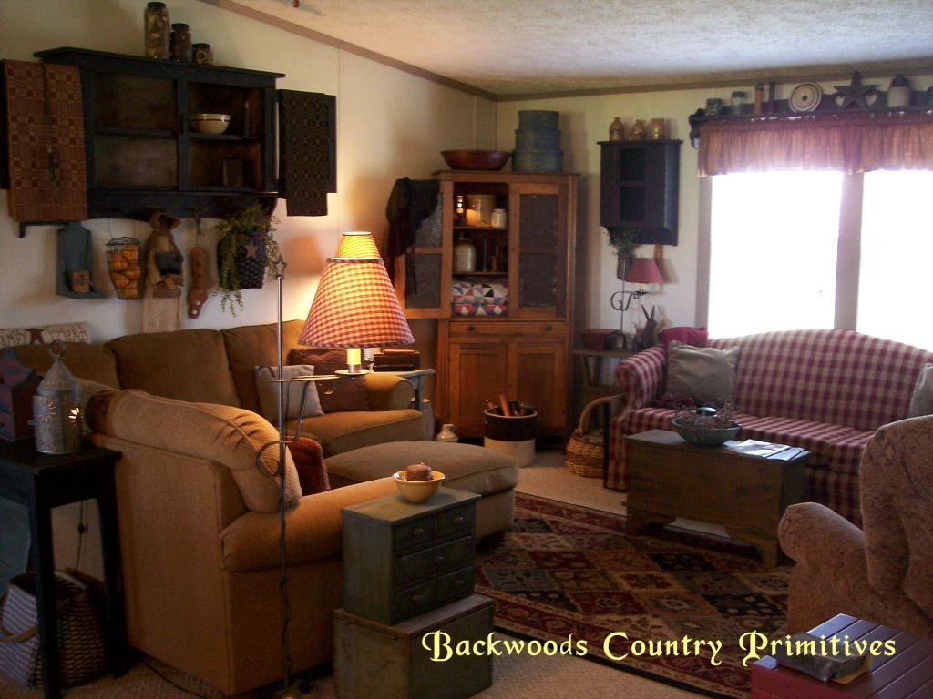 Backwoods country primitives living room pinterest for Country decorating living room ideas