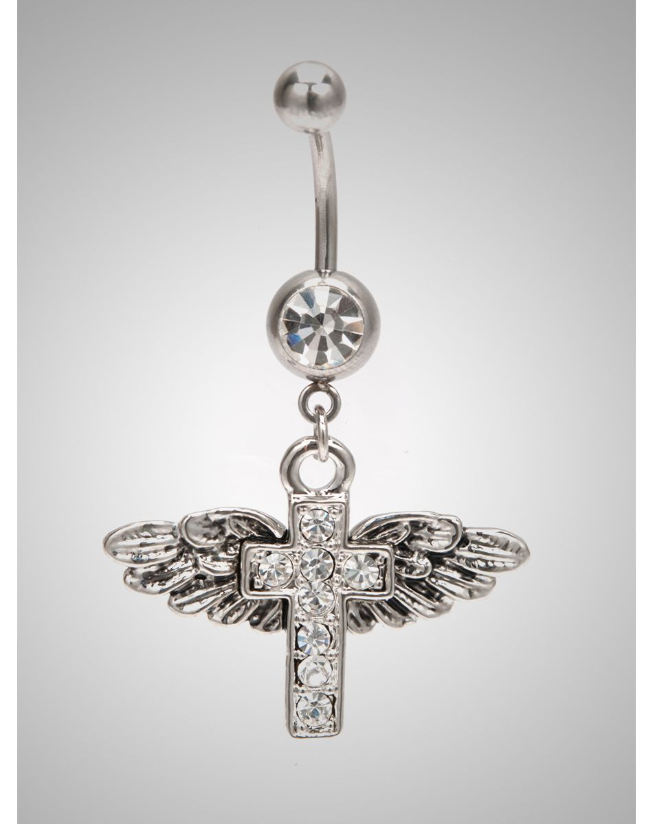 Belly piercing jewelry   Gauge Wings Cross Clear Gem Banana Belly Button Ring  Belly
