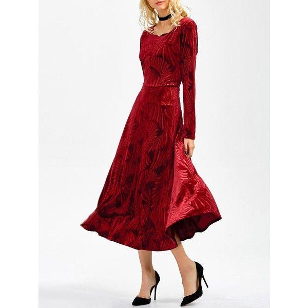 63452d01b2cb Long Sleeve A Line Velvet Midi Swing Dress ( 38) ❤ liked on Polyvore  featuring dresses