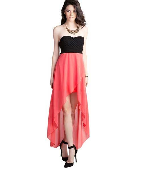 Cute Spring Dresses | cute coral high low and black bustier corset ...