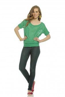 Slub Dolman Sleeve Top - Green  Lace Top #2dayslook #LaceTop #kelly751 #anoukblokker  www.2dayslook.com