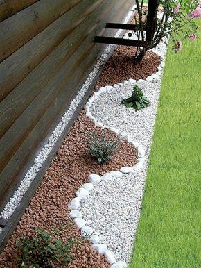 Garten Ideen Ying Yang Kies Gartengestaltung Grünes Gras Runde Steine
