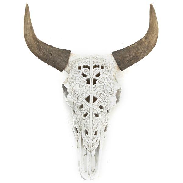 Tierkopf Deko wand skulptur ox skull weiß hörner kopf tierkopf ochse deko shabby