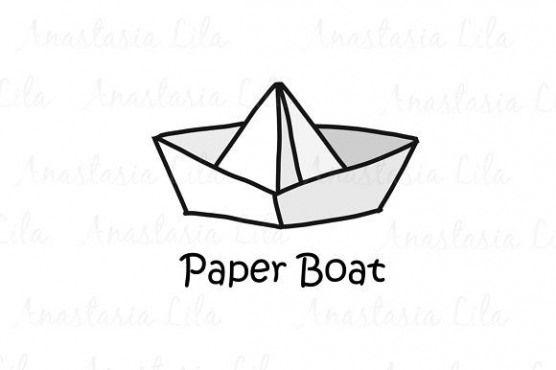 Paper Boat cartoon concept logo Templates artoon concept style logotype Paper Boat vector illustrat
