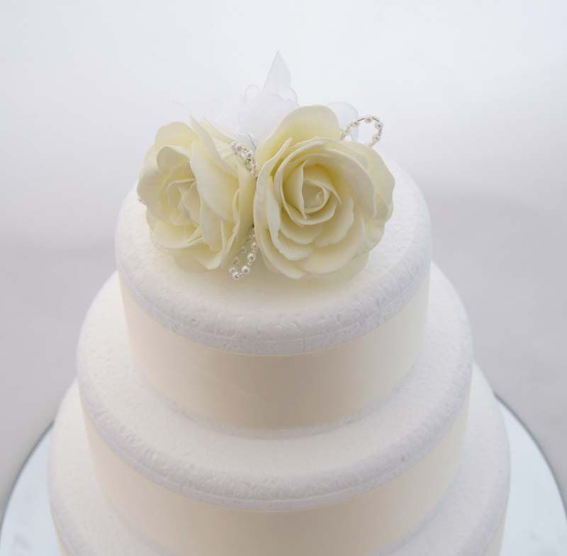 Ivory Foam Rose Wedding Cake Topper With Pearl Loops Beads