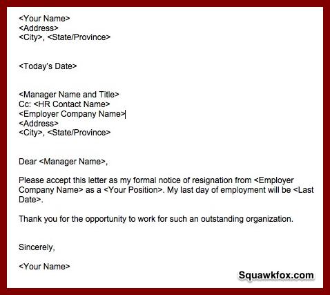 Resignation Letter Example Squawkfox Resignation