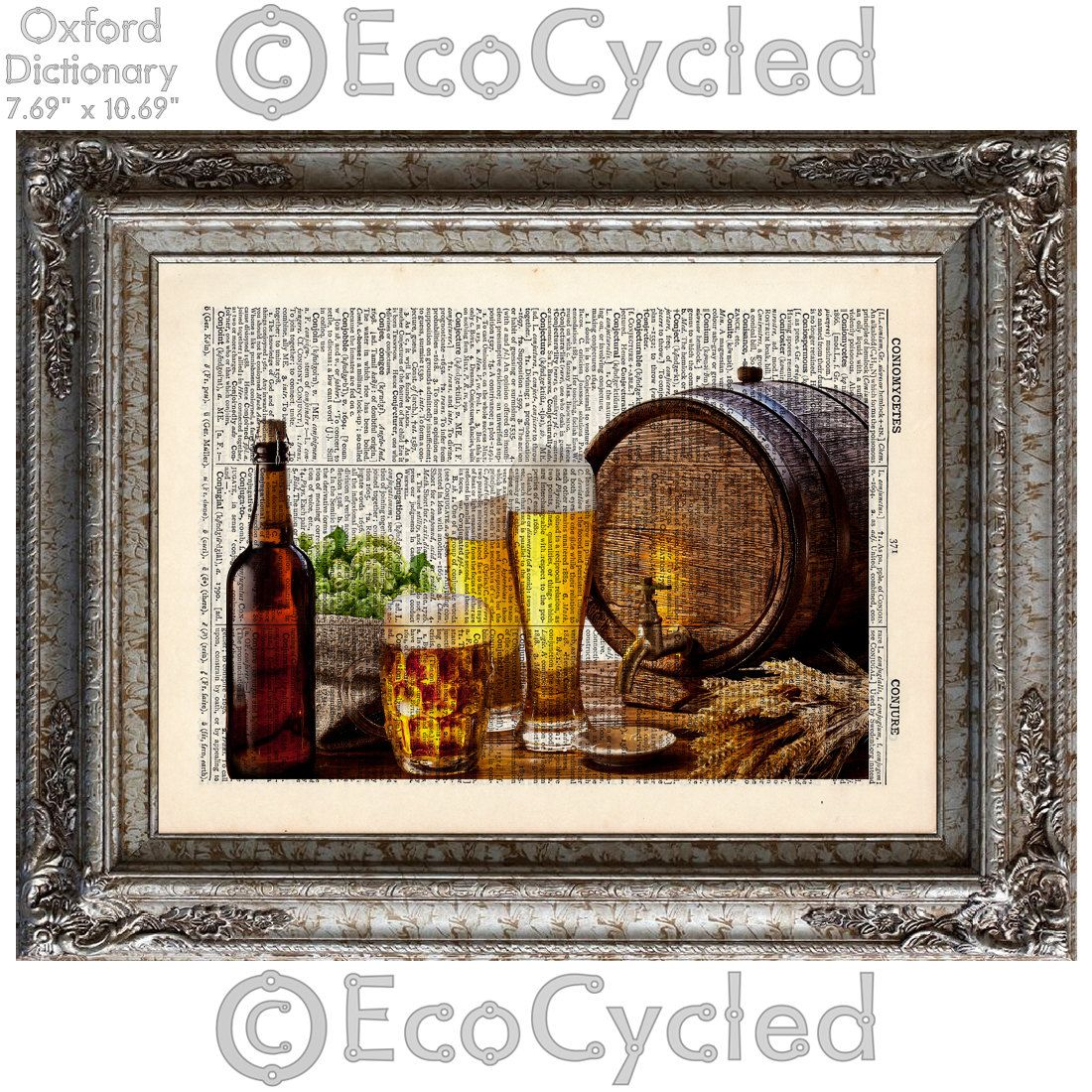 New to EcoCycled on Etsy: Beer Hops and Keg Stein Beer Lover on Vintage Upcycled Dictionary Art Print Book Art Print Bottle Mug (10.00 USD)