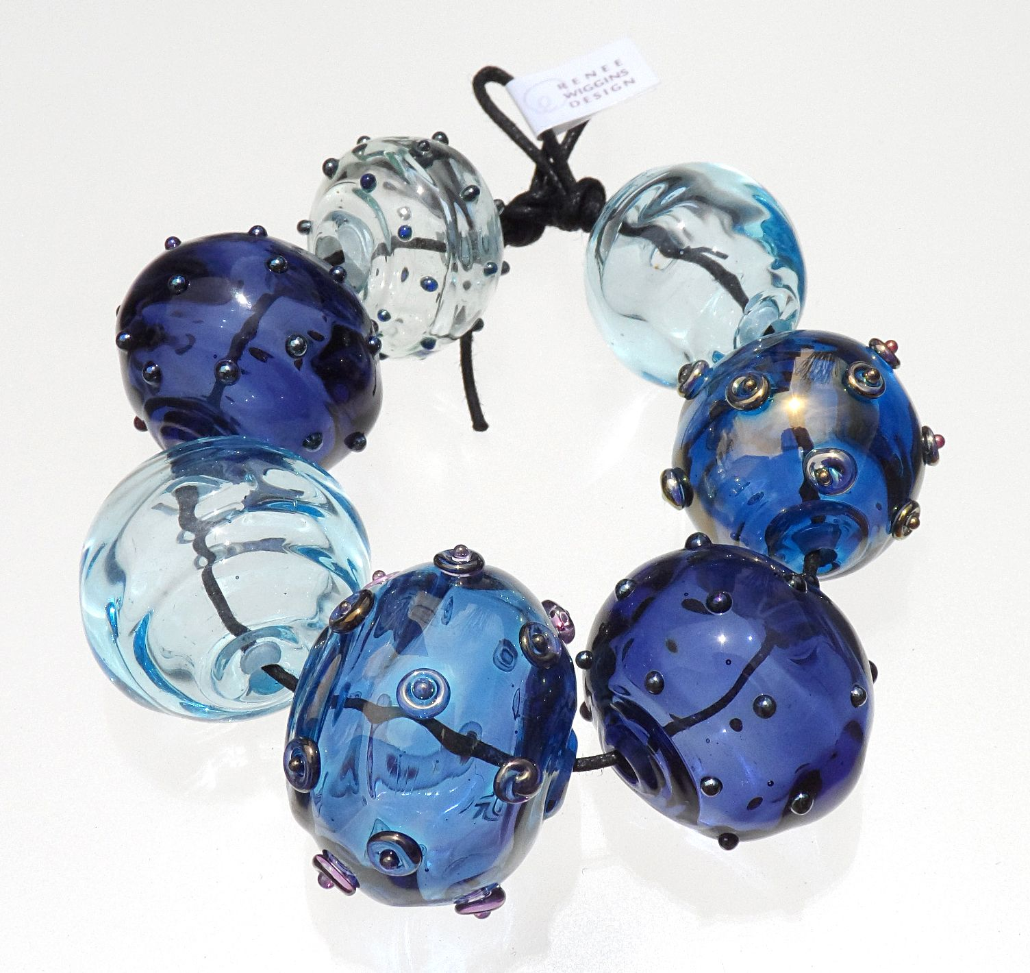 blue lampwork Handmade Saphhire Blue glass ribbed lampwork round beads Made to Order Bims Bangles Lampwork Bead Set