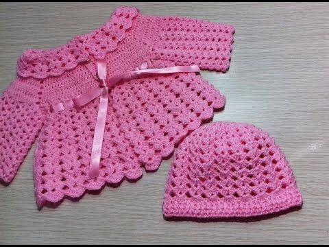 Toquinha de crochê para Bebê - YouTube | Cardigan | Pinterest | Bebe ...