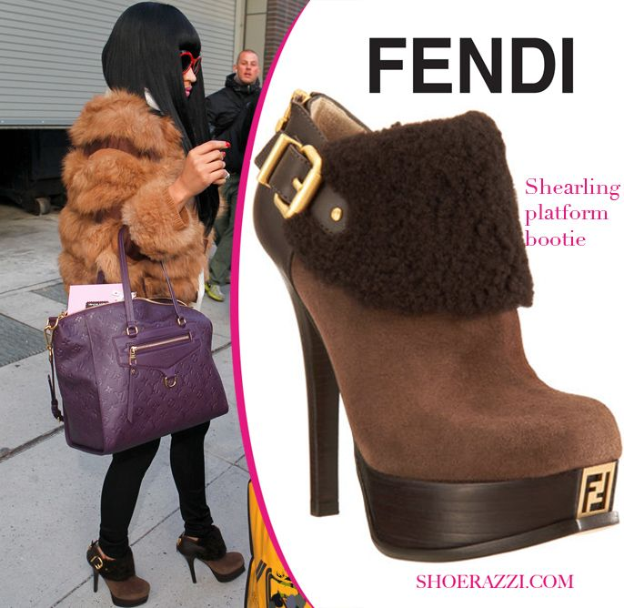 09e8511c Nicki Minaj in Fendi Shearling Suede Platform Booties | Nicki Minaj ...