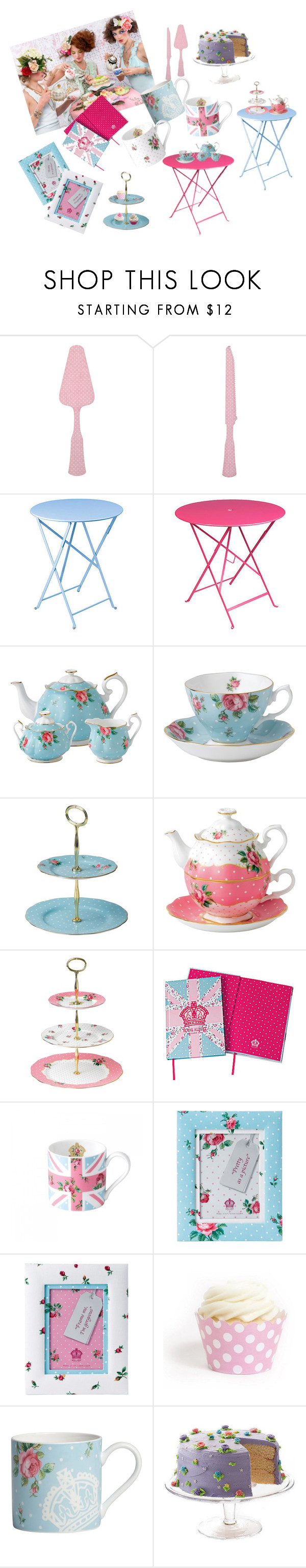 """""""Tea party"""" by alnourah ❤ liked on Polyvore featuring interior, interiors, interior design, home, home decor, interior decorating, Etiquette, Sabre Flatware, Fermob and Royal Albert"""