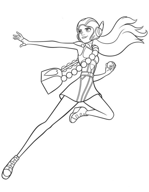 Coloring Page Big Hero 6 Honey Lemon With Images Omalovanky