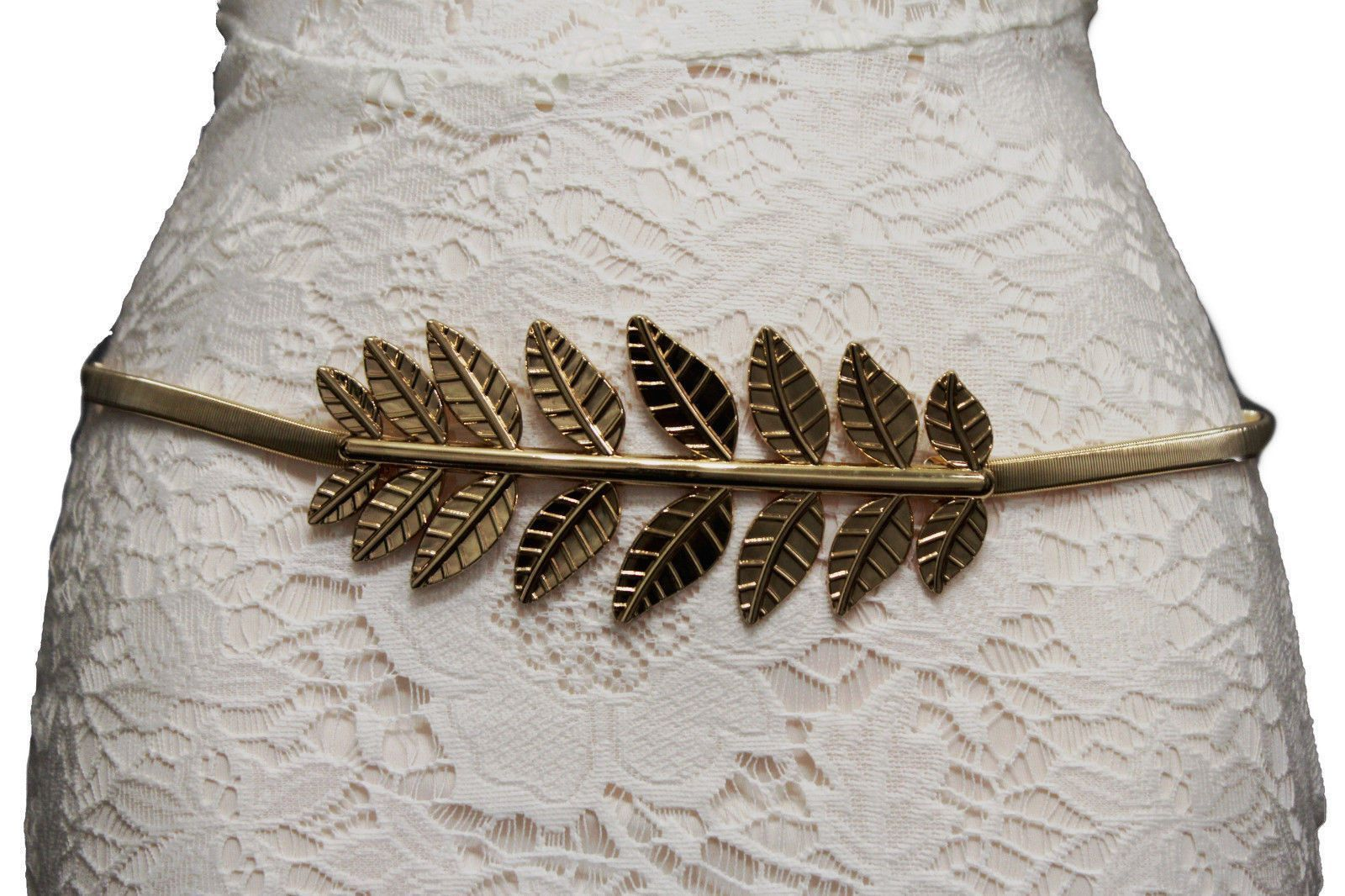 Silver gold high waist elastic belt wide leaf buckle new women