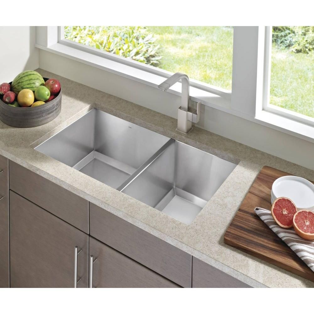 Moen 1600 Series Undermount Stainless Steel 34 In Double Bowl Kitchen Sink G16221 The Home Depot Single Handle Kitchen Faucet Kitchen Sinks For Sale Kitchen Handles