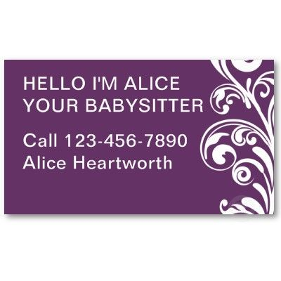 Simple Babysitting Business Cards Zazzle Com Cool Business Cards Business Card Design Pinterest For Business
