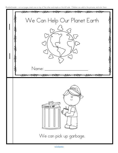 Earth Day Emergent Reader For Preschool Pre K And Kindergarten