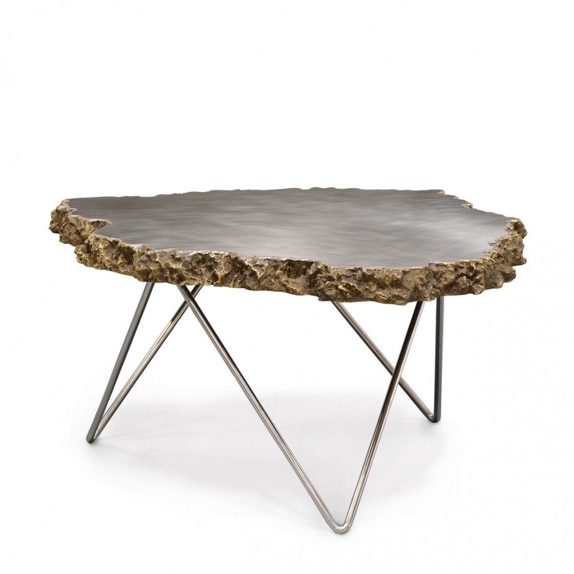 Artistic Live Edge Natural Stone Coffee Table Prehistoric Inspired With Modern Steel Legs