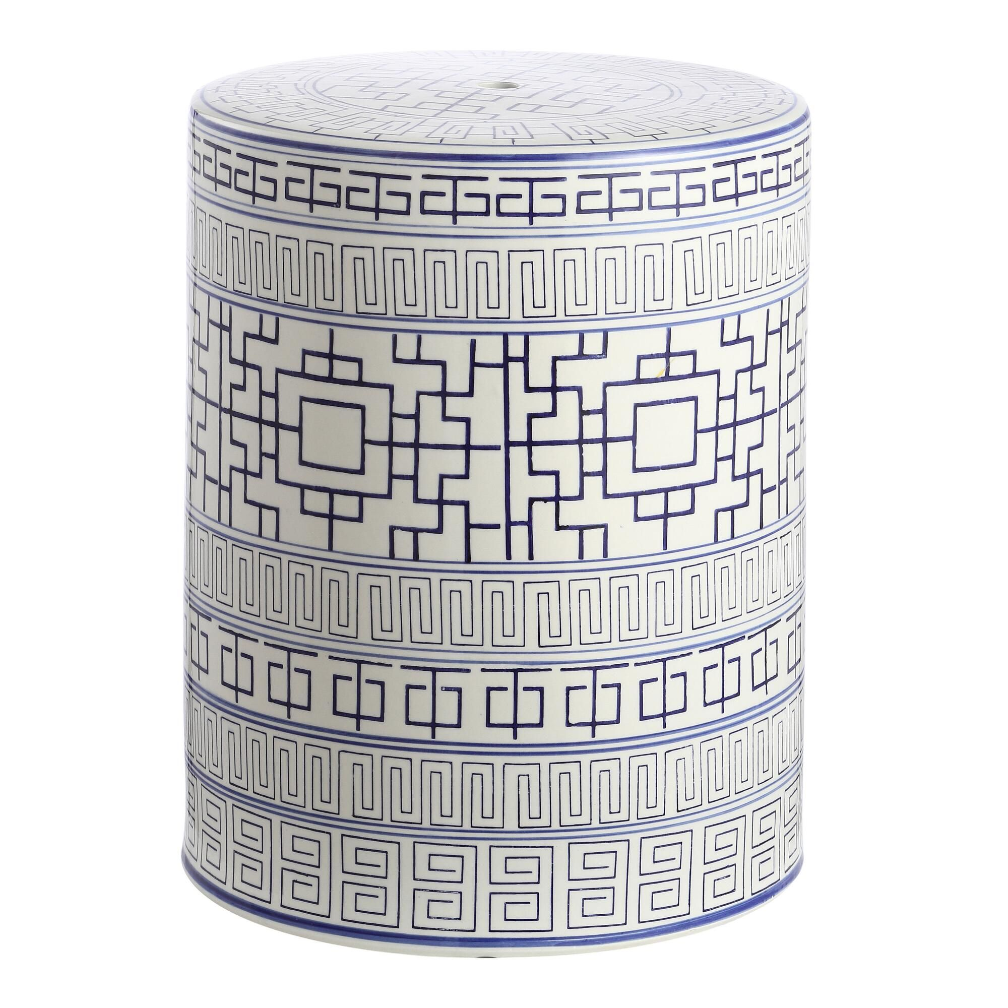 Navy And White Ceramic Shantou Outdoor Patio Accent Stool