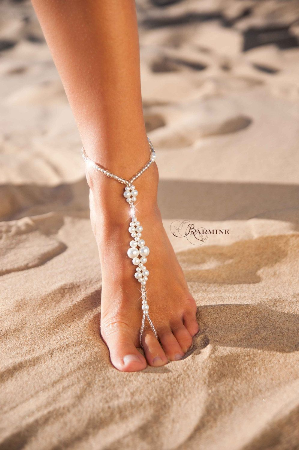 Wedding barefoot sandals Bridal barefoot sandals Foot jewelry