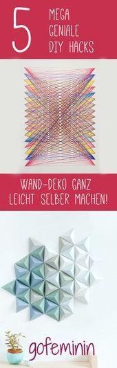 5 geniale DIY-Hacks: Gestalten Sie selbst kreativ Ihre Wanddekoration   - Cool Crafts #wand #wanddeko #wandideen #wanddekoselbermachen