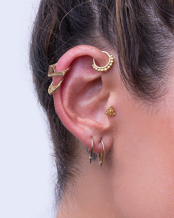 9fd6ccbd0 Unique Ear-Piercing Set, made of 14K Solid Yellow Gold, Indian Style Piercing  Jewelry for the Earlobes, Tragus, Helix, Cartilage, Daith, and other  Piercing ...