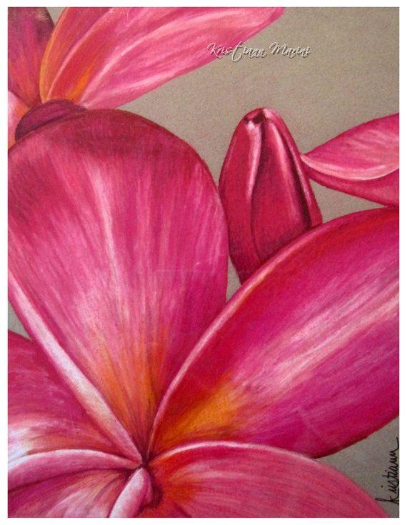 Bright flower painting plumeria hawaiian by for Bright flower painting