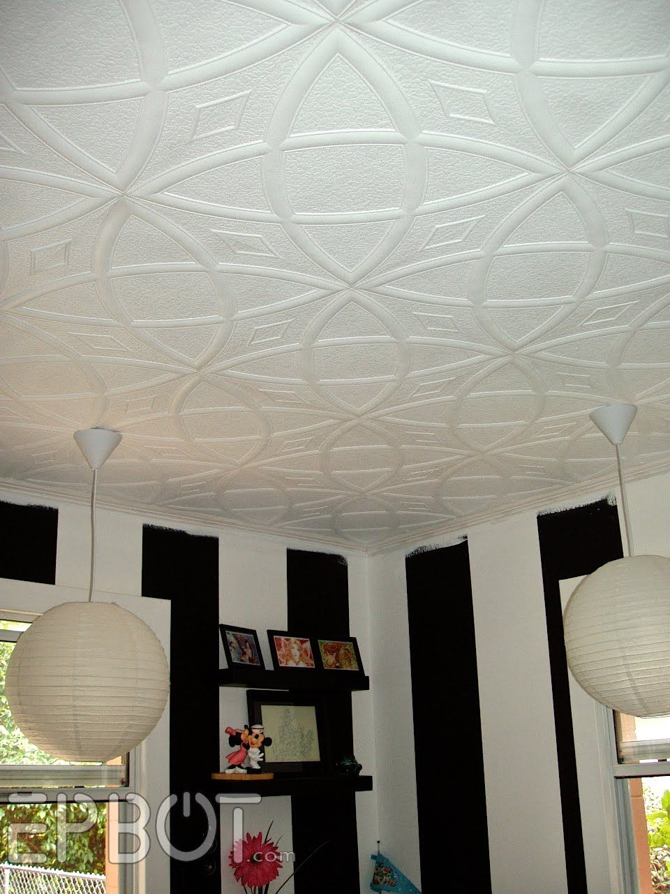I have to rave about these ceiling tiles for a second theyre made epbot officially a mess these tiles are made of lightweight foam and simply glue over existing popcorn ceilings dailygadgetfo Gallery