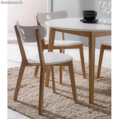 Mesa redonda cocina con 4 sillas blanca muebles hacer en for Mesas de cocina redondas extensibles