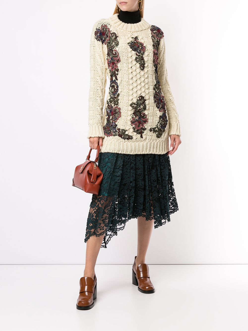 Antonio Marras floral-appliquéd chunky-knit Jumper - Farfetch