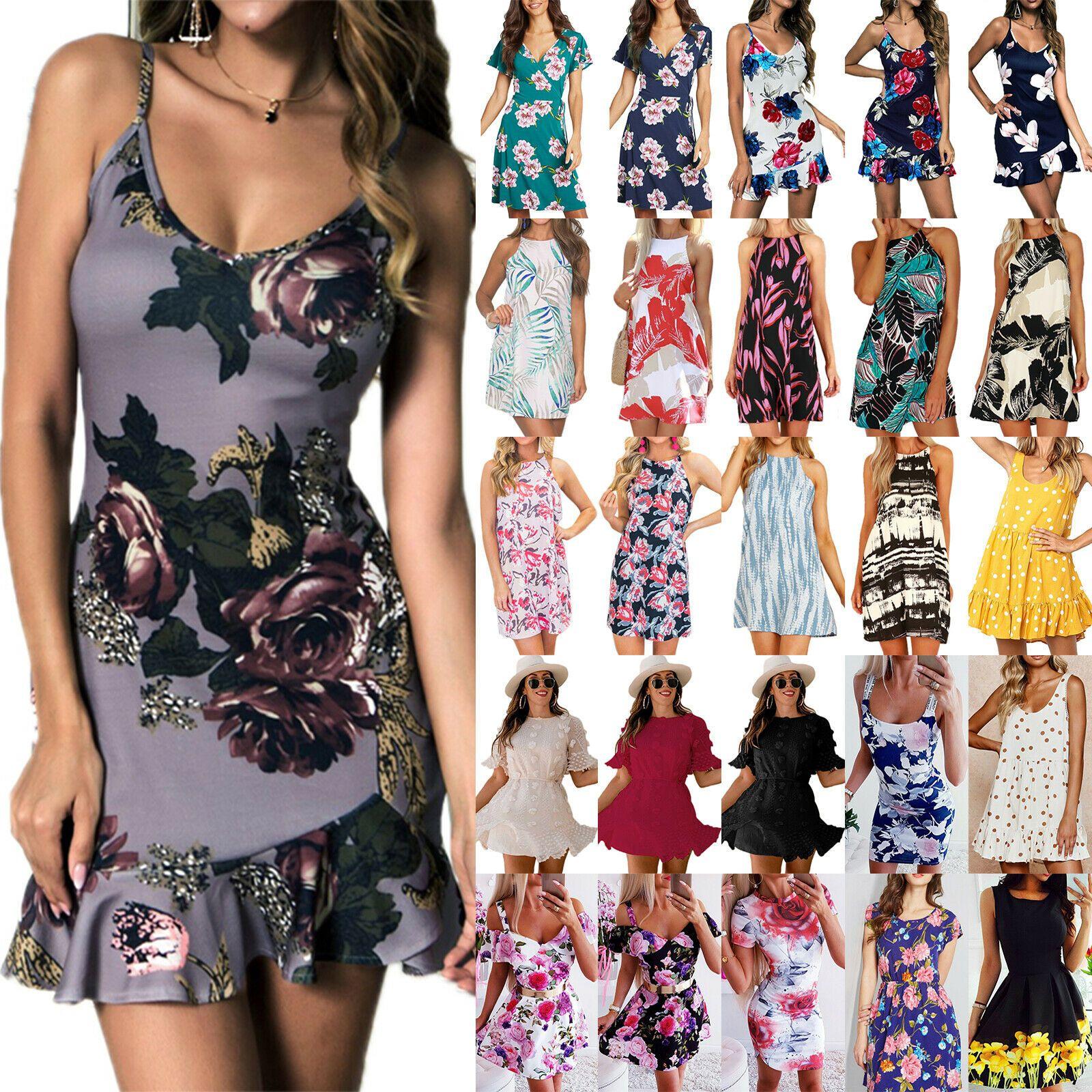 reputable site d545a 1bf47 Damen Boho Minikleid Sommerkleid Partykleid Blumen Kleid ...