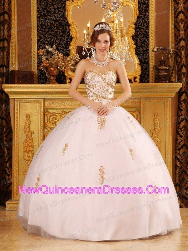 Elegant White Quinceanera Dress Sweetheart Tulle Appliques Ball ...