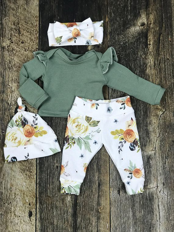 Photo of Newborn Girl Coming Home Outfit in Earthtones, Newborn Girl Photography Outfit; Watercolor Floral, Baby Girl, Premie Girl, Baby Shower