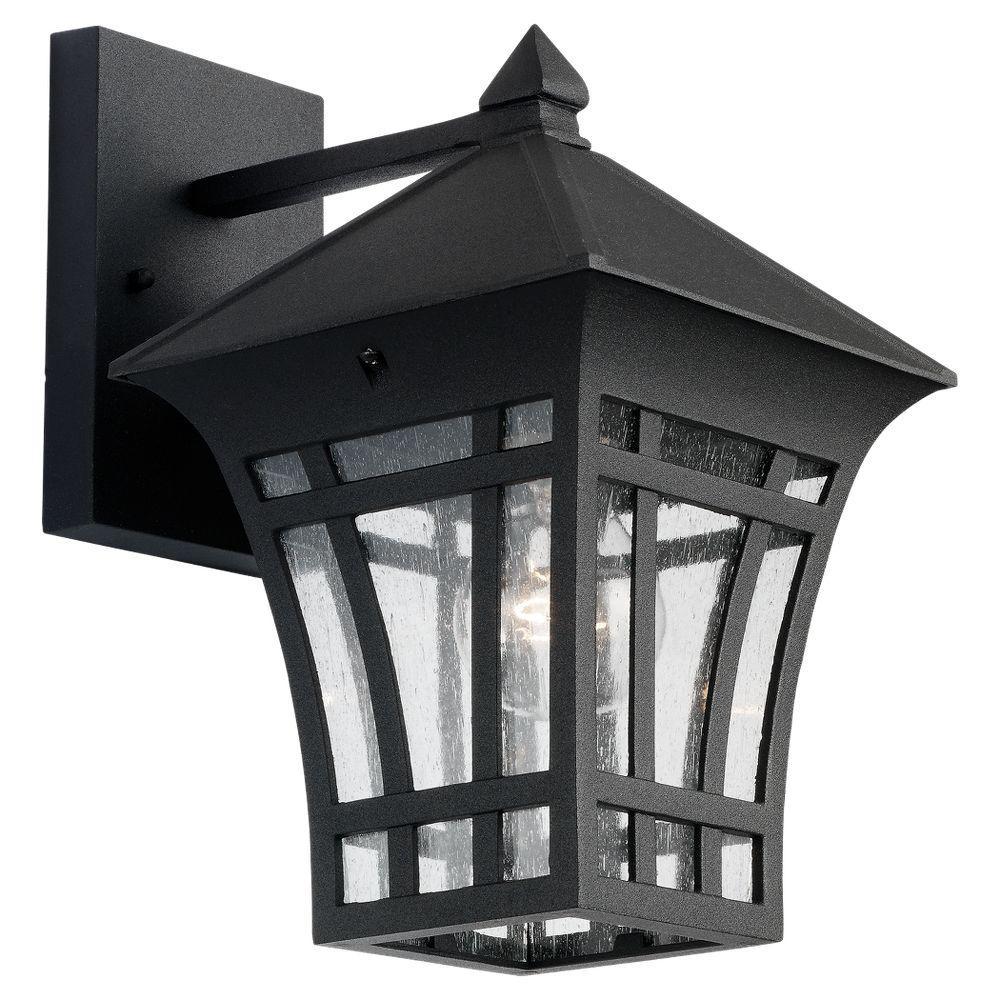 Sea Gull Lighting Herrington 7 25 In W 1 Light Black Outdoor 11 75 In Wall Lantern Sconce 88132 12 Black Outdoor Wall Lights Outdoor Wall Lantern Outdoor Walls