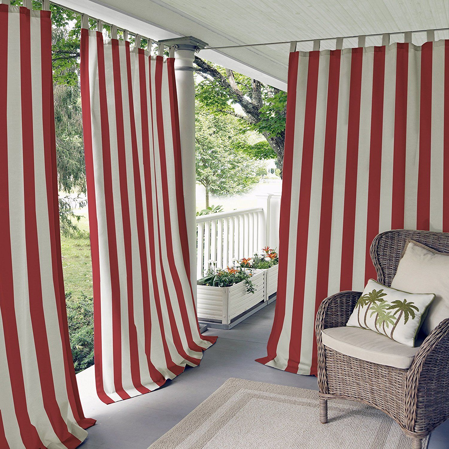 Outside window treatment ideas   inch outdoor red stripe gazebo curtain dark red striped  dark
