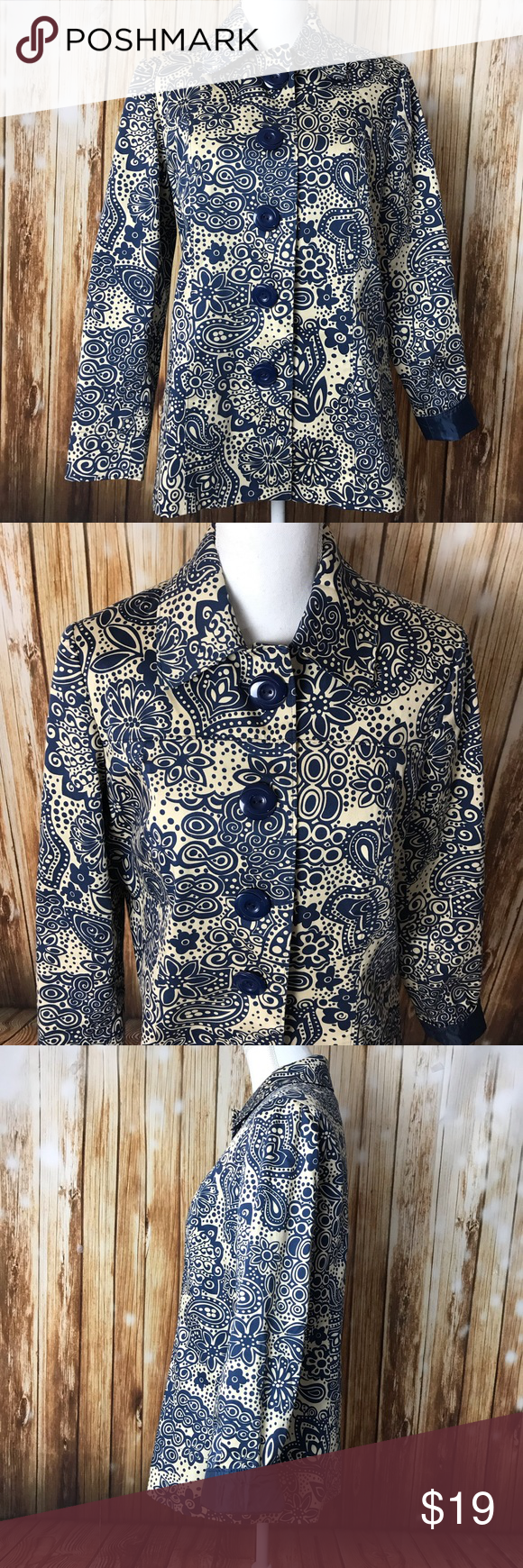 Blue cream patterned jacket big buttons funky Requirements