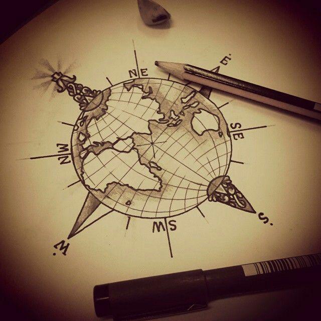 Globe tattoo tatouages voyage pinterest tatouages tatouages de globe et dessin - Tatouage globe terrestre ...
