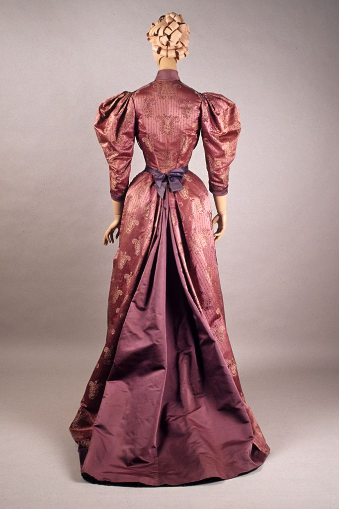 Purple satin and brocade dress with beaded swags, Bourdereau Veron et Cie…